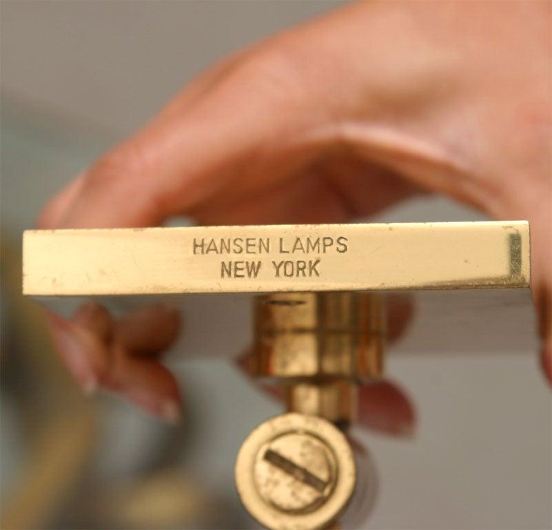 pair of brass swing arm hansen lamps sconces at 1stdibs. Black Bedroom Furniture Sets. Home Design Ideas