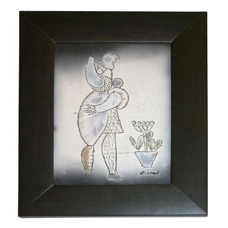 Decorative Ceramic Plaque by Roger Capron