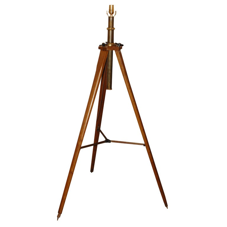 Surveyor tripod lamp at 1stdibs for Surveyors floor lamp wood