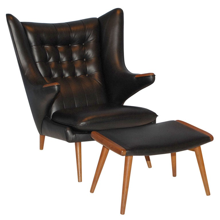 danish modern leather armchair and ottoman at 1stdibs