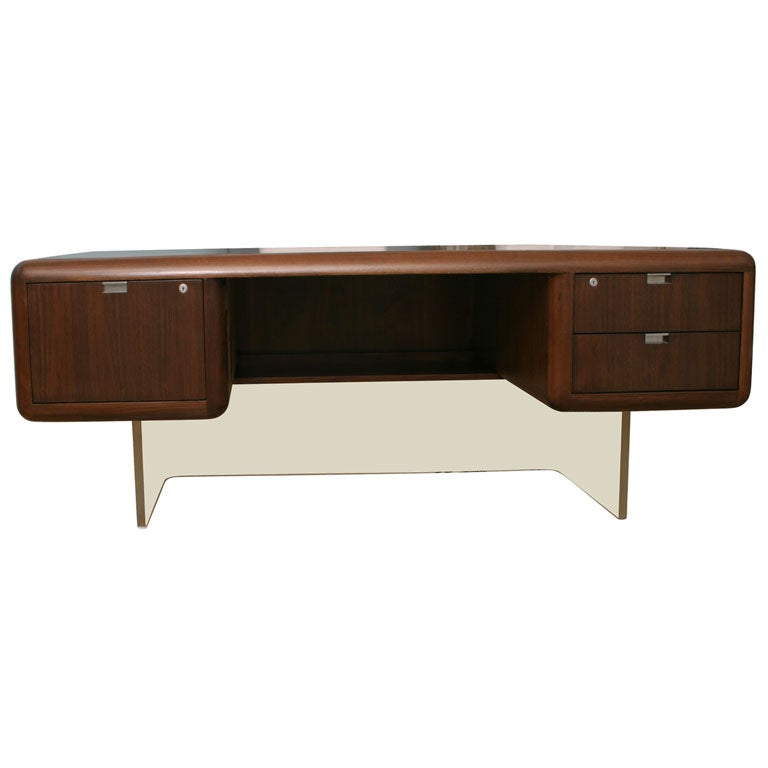 Vladimir kagan executive lucite and wood desk at 1stdibs for Perspex desk