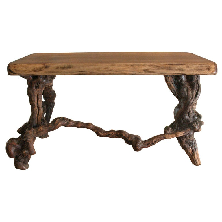 Low table with gnarled vine legs for Table and vine