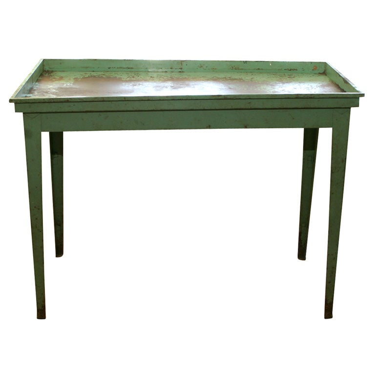 Green Painted Metal Table At 1stdibs