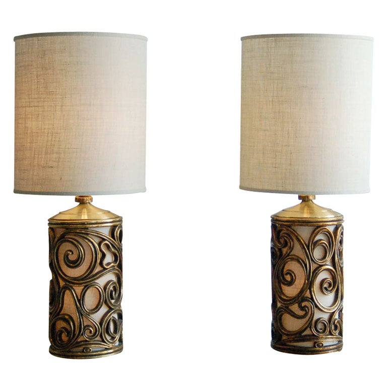 Pair Large Gilt Curl Cylinder Lamps 1960s at 1stdibs