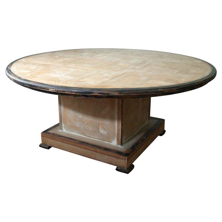 Massive parquet oak ceruse dining table at 1stdibs - Parquet blanc ceruse ...