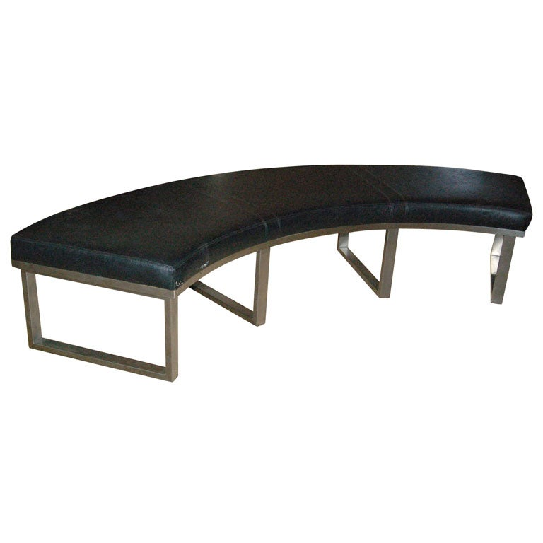 Curved Leather And Chrome Bench At 1stdibs