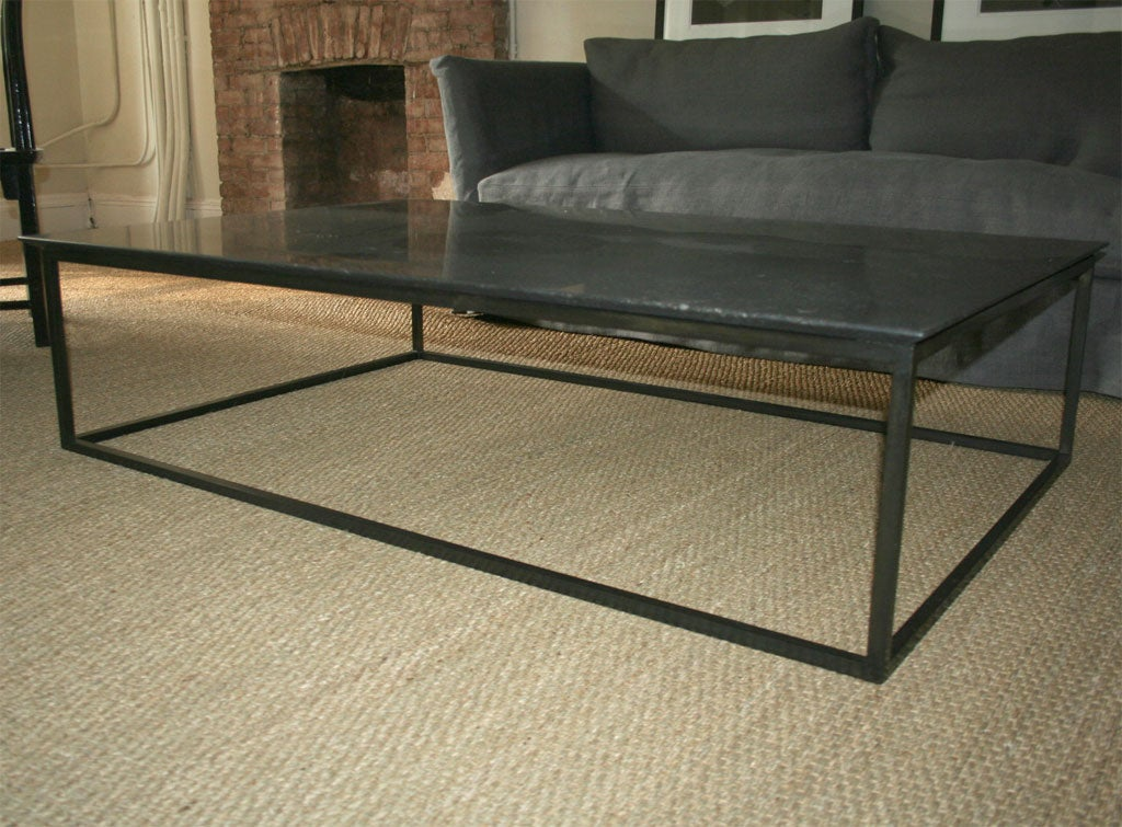 Lucca custom made Belgian stone coffee table with steel base 2 - Lucca Custom Made Belgian Stone Coffee Table With Steel Base For