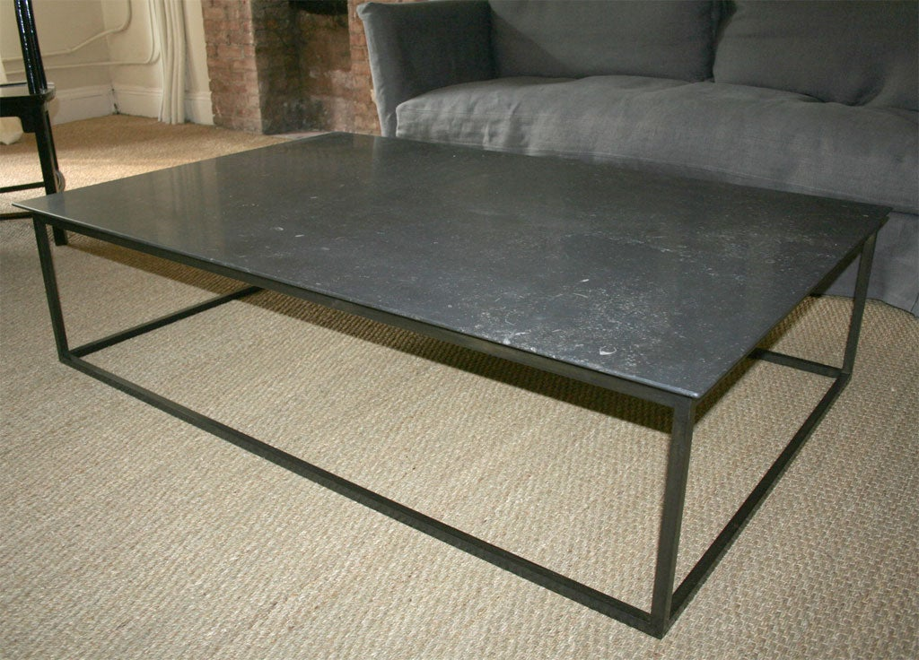 Lucca Custom Made Belgian Stone Coffee Table With Steel Base At 1stdibs