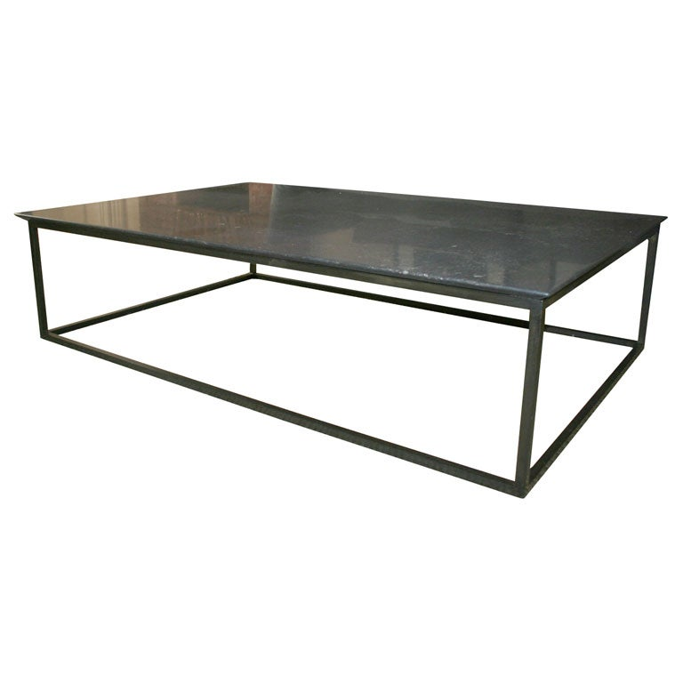 Lucca Custom Made Belgian Stone Coffee Table With Steel
