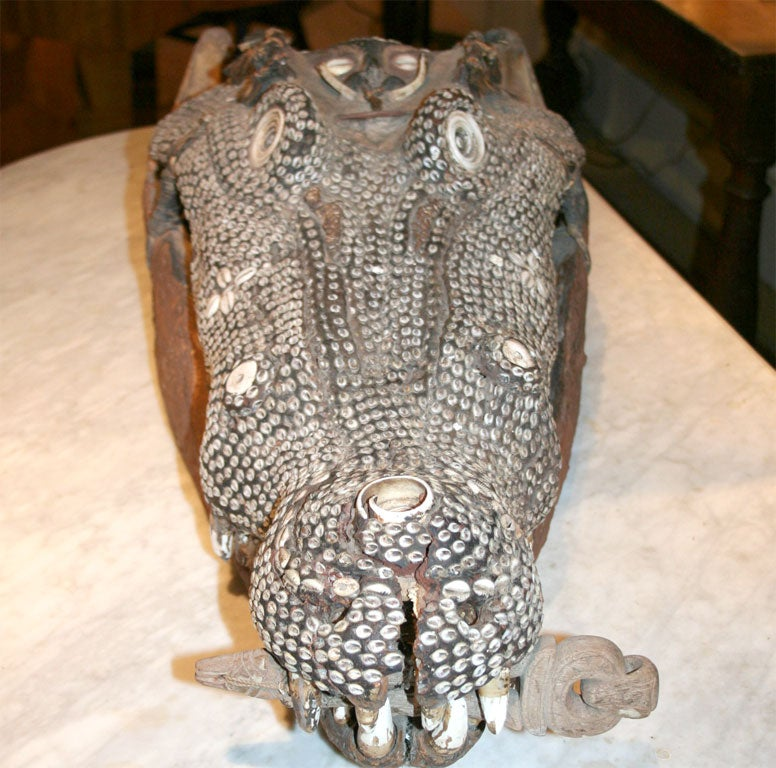 19th Century Rare Inlaid Crocodile Head from Papua New Guinea