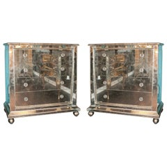 Custom Mirrored Ball Foot Dressers