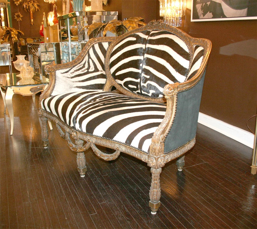 Louis XVI Zebra And Suede Settee At 1stdibs