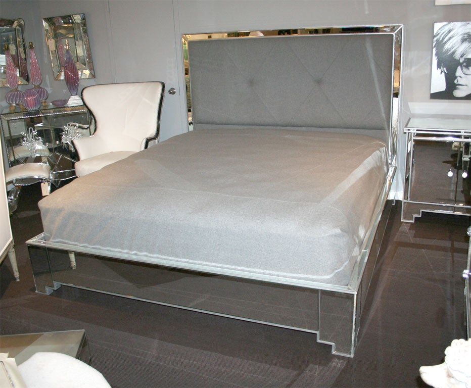 custom mirrored bed with silver trim detailing 2 - Mirror Bed Frame