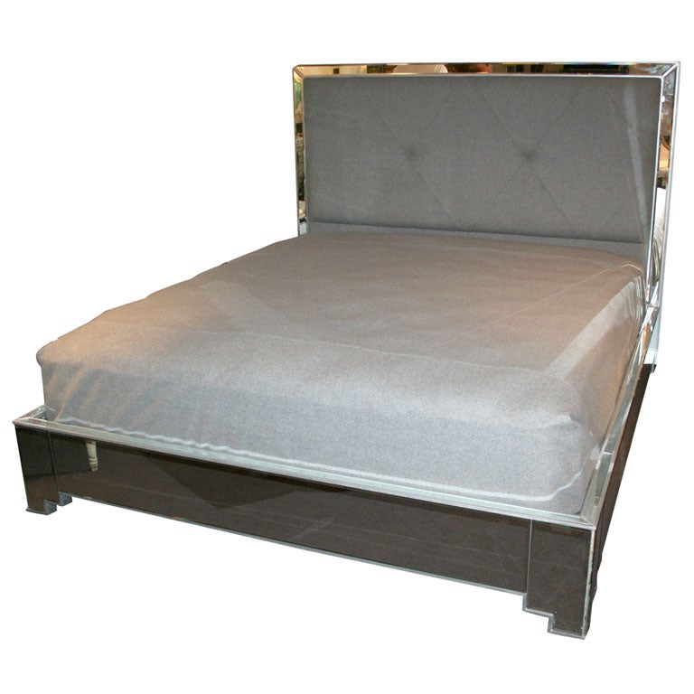 Custom Mirrored Bed with Silver Trim Detailing