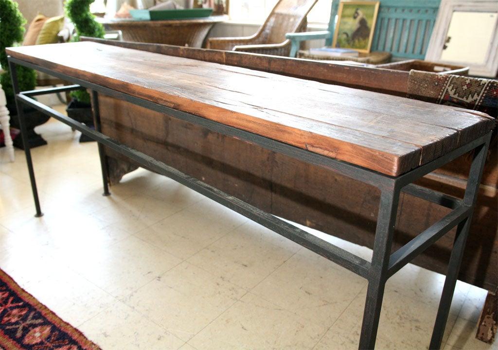 Custom Elm Wood Top Metal Base Console Table At 1stdibs