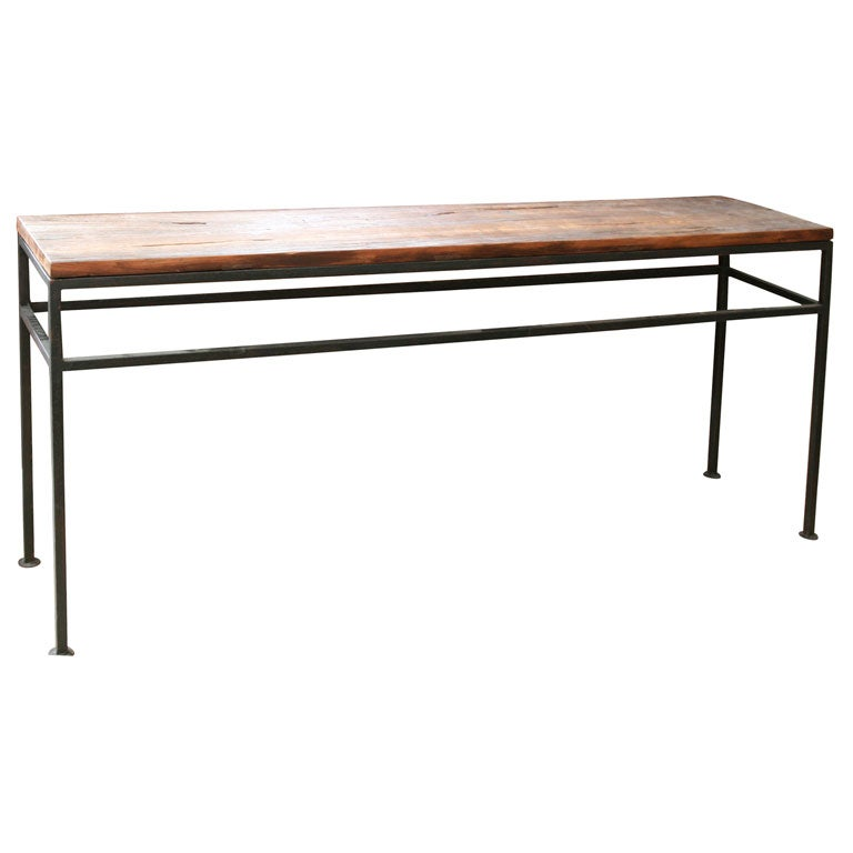 Custom elm wood top metal base console table at 1stdibs for Metal and wood console tables