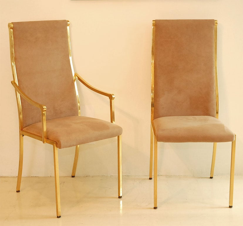 set 6 brass suede dining chairs at 1stdibs