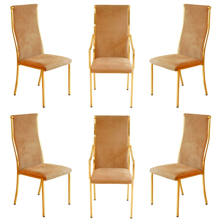 this set 6 brass suede dining chairs is no longer available
