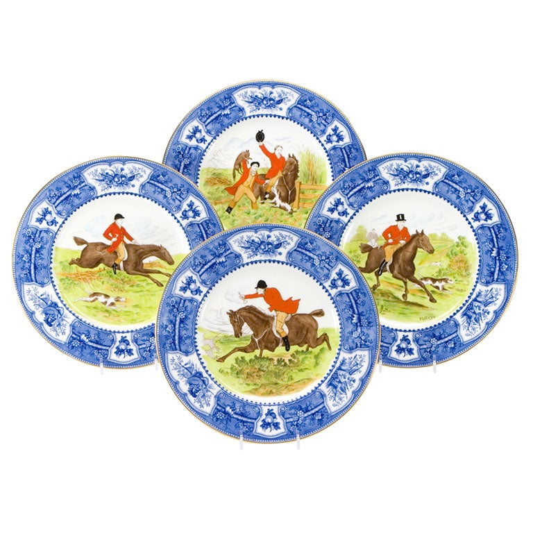 Wedgwood Enameled Hunt Plates, Set of 18