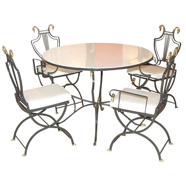 Hollywood Regency Dining Table With Vitrilite Top And 4 Chairs At