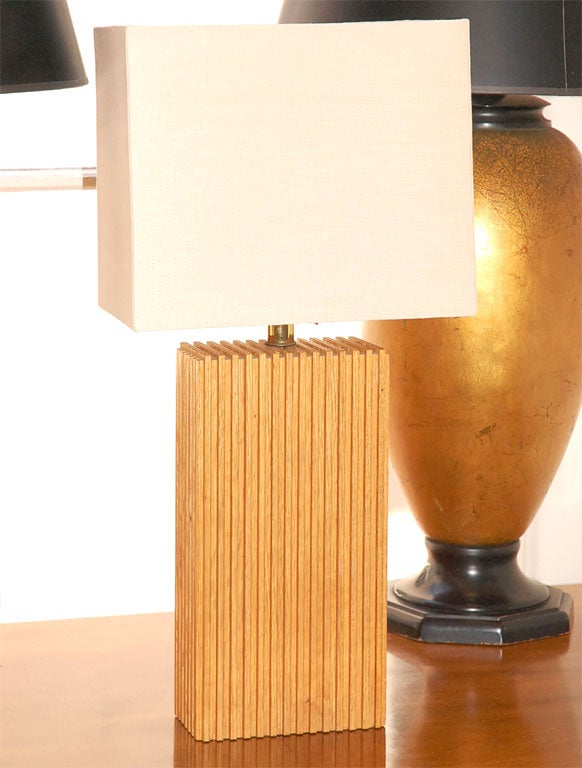 Small Wood Block Lamp With Custom Linen Shade And Diffuser