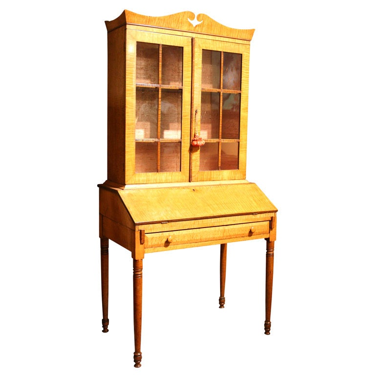 New england tiger maple bureau bookcase at 1stdibs for New england style desk