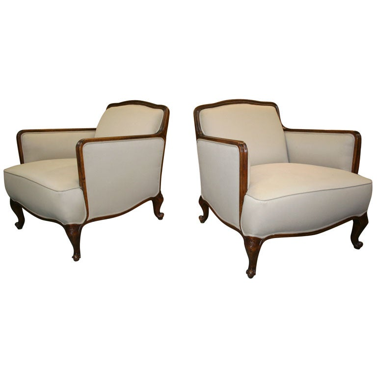 Pair French Style Club Chairs At 1stdibs