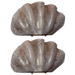 Pair of Venetian Murano Glass Clam Shell Scones