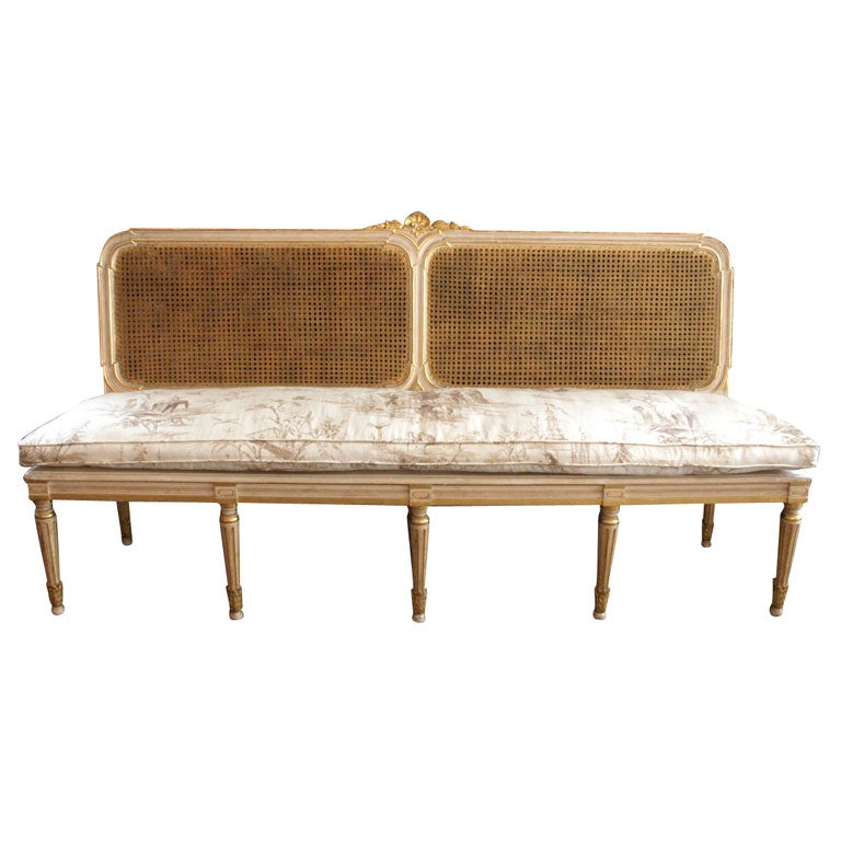 louis xvi style cane banquette at 1stdibs. Black Bedroom Furniture Sets. Home Design Ideas
