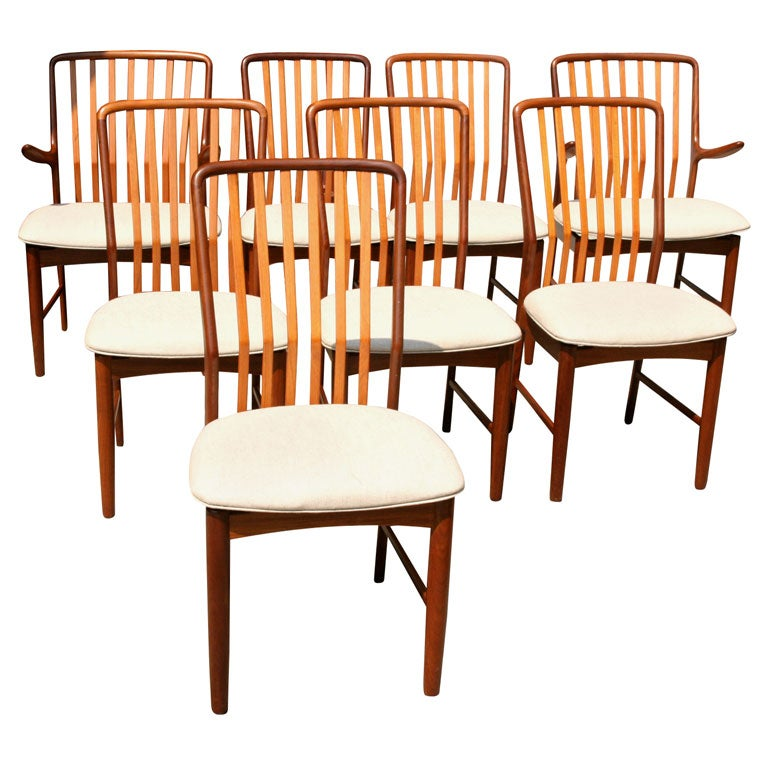 this set 8 danish modern dining chairs by svend a madsen is no longer