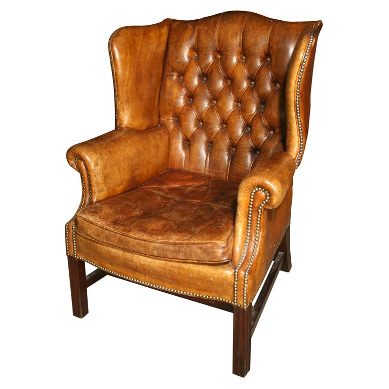 Leather Wing Back Chair At 1stdibs