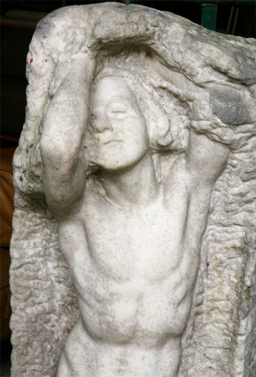 Hand-Carved Marble Statue by Thyra Boldsen For Sale