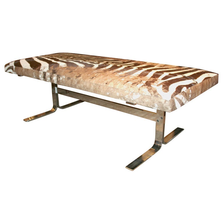 Pace Collection Zebra Skin Bench At 1stdibs