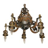 Wrought Iron Chandelier with Ram Heads
