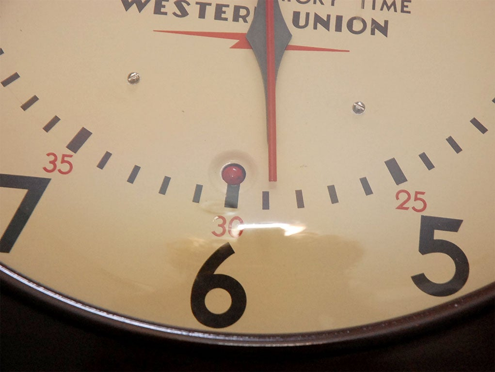 Western union wall clock at 1stdibs for Western wall clocks for sale