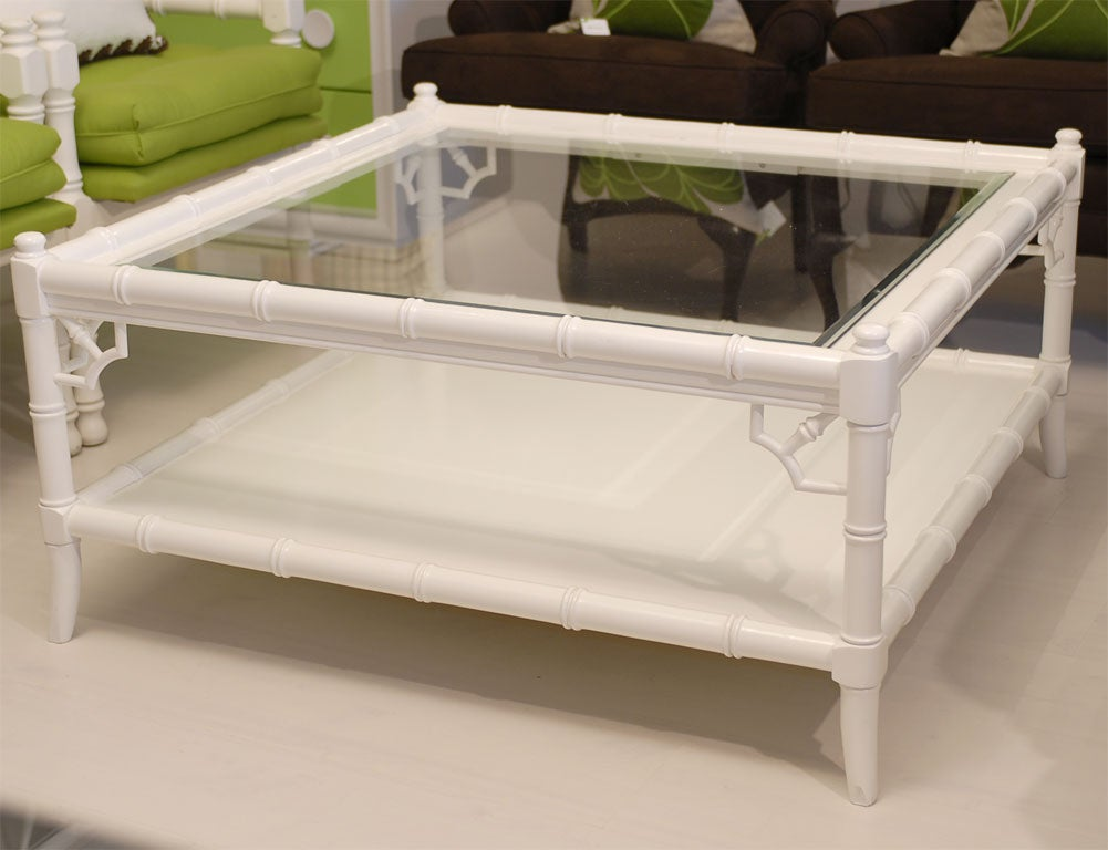 White Faux Bamboo Square Coffee Table At 1stdibs