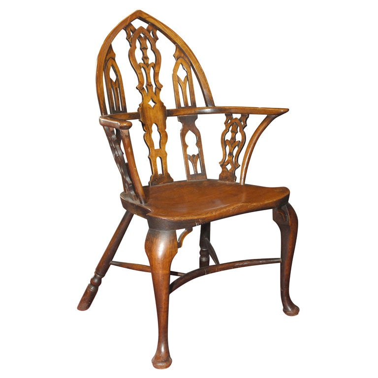 English Oak And Yew Wood Gothic Revival Windsor Armchair 1