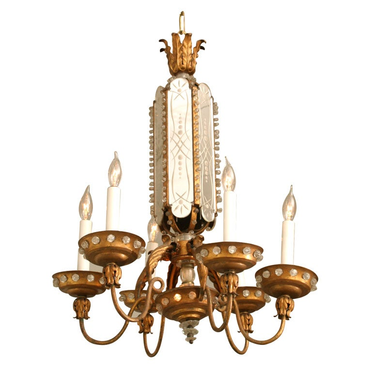 Gilt Wood And Mirror Bagues French Chandelier At 1stdibs