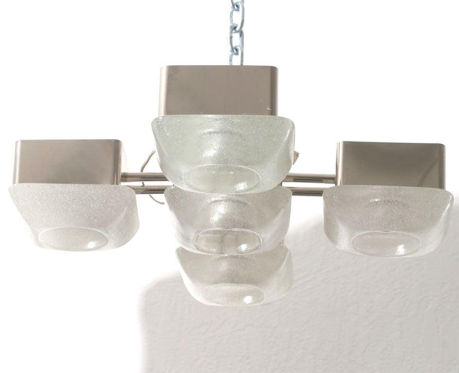 Mazzega Italian Murano Glass Light Fixture For Sale 4