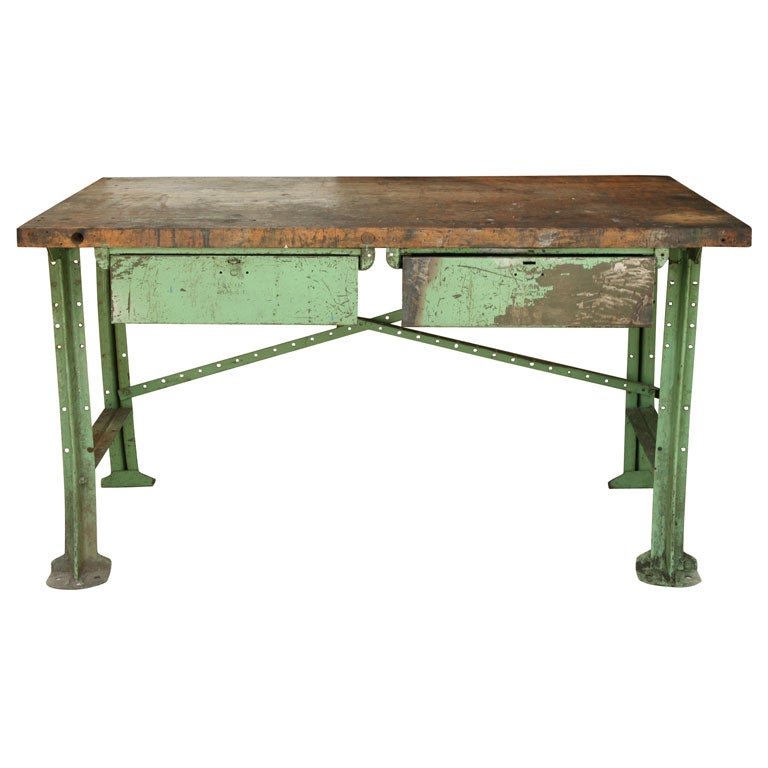 Painted iron work table with two drawers at 1stdibs for Furniture work table