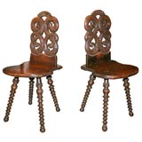 Unusual Pair of Serpent Motif Hall Chairs
