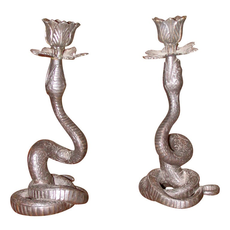Pair of bronze snake candelabra at stdibs