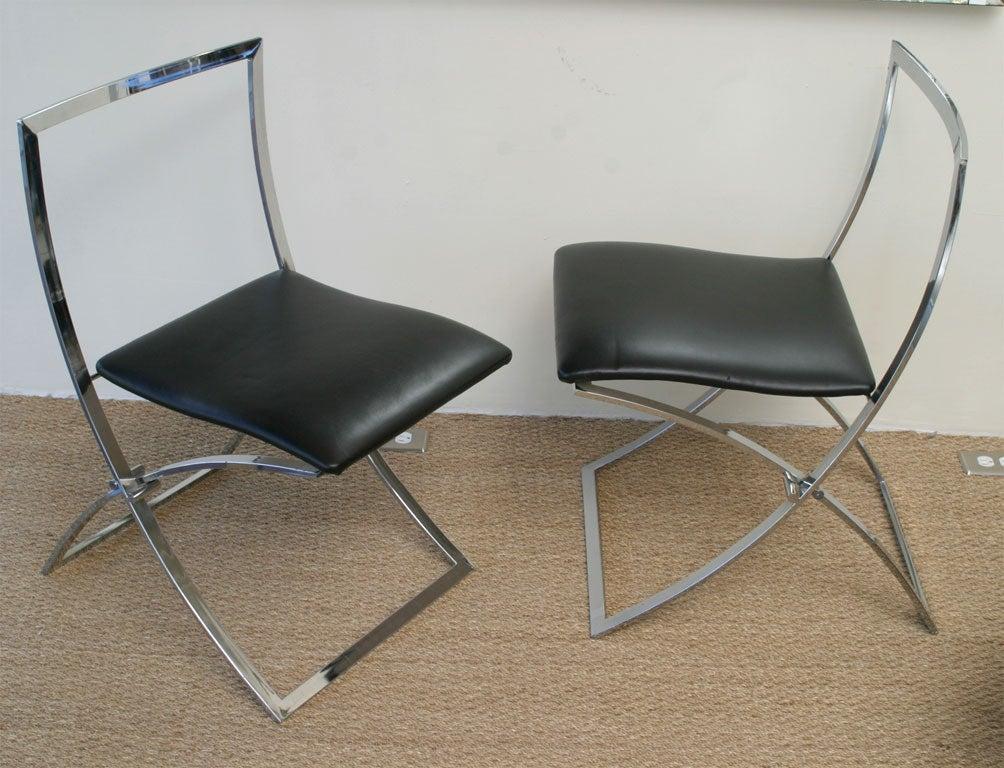 Pair Of Maison Jansen Sculptural Folding Chairs At 1stdibs