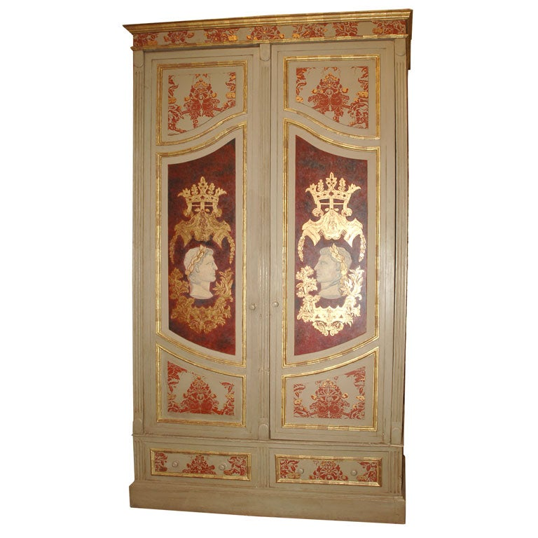 grand scale italian painted armoire at 1stdibs. Black Bedroom Furniture Sets. Home Design Ideas