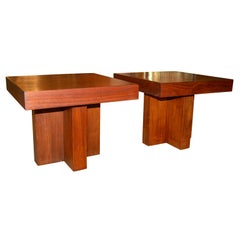 Pair of Cruciform Occasional Tables in the Style of Milo Baughman