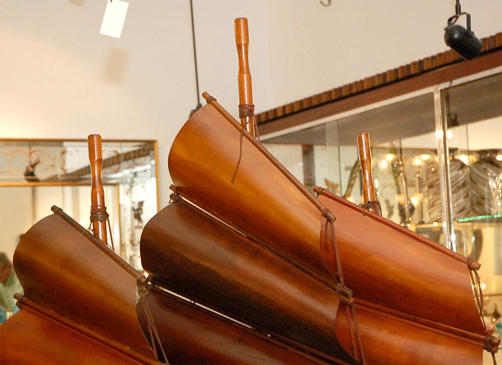 20th Century Handcarved Junk with 3 bentwood sails