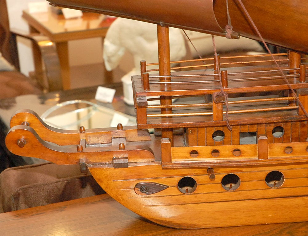 Handcarved Junk with 3 bentwood sails 1