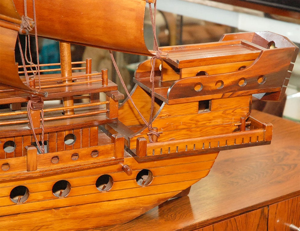 Handcarved Junk with 3 bentwood sails 2