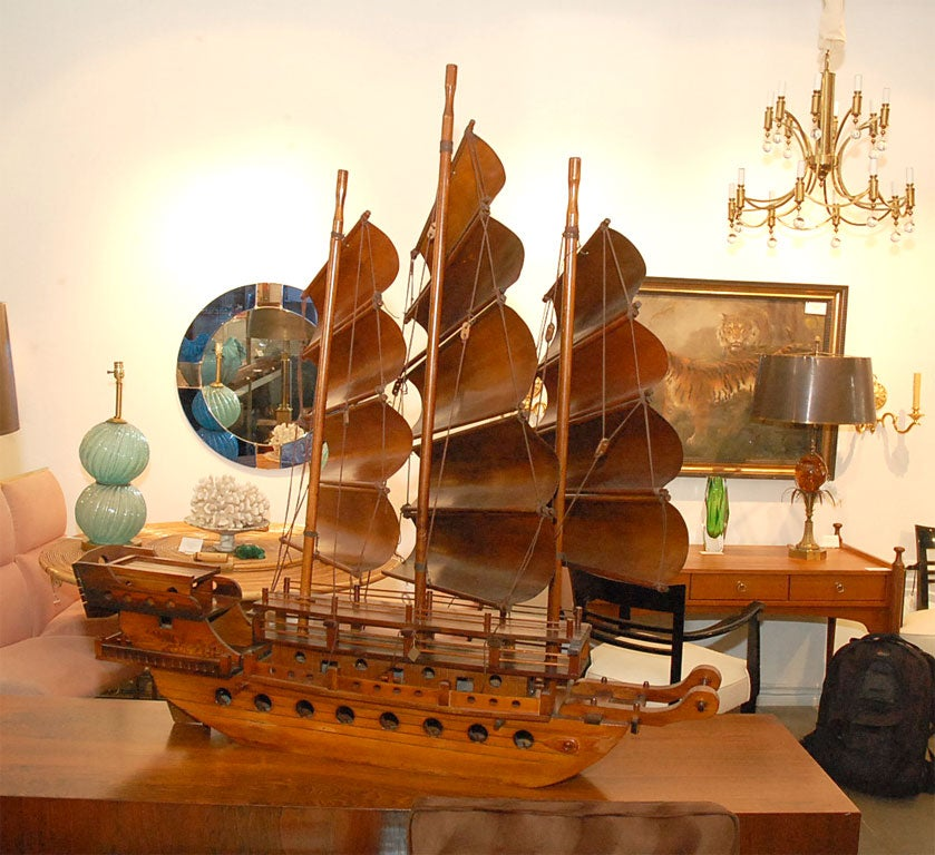 Handcarved Junk with 3 bentwood sails 4