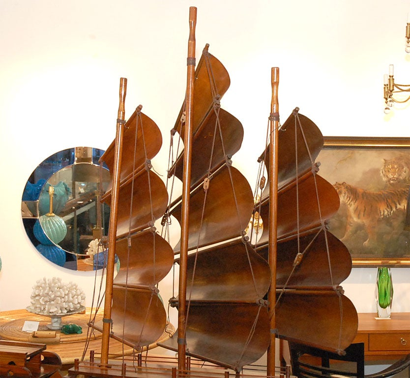Handcarved Junk with 3 bentwood sails 5